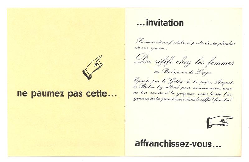 """Invitation """"Du Rififi chez les Femmes"""""""